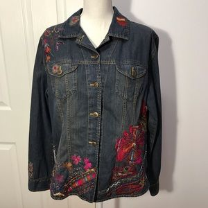 Chico's Denim Embroidered Jacket, Size 2